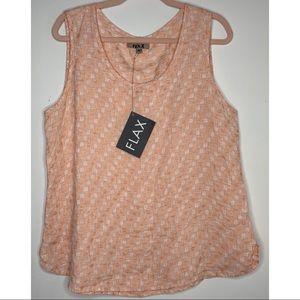 NWT FLAX   Orange Pattern Linen Sleeveless Blouse
